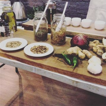 teaching how to make fire cider as one of our home apothecary classes